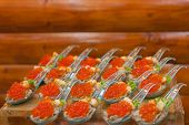 Snacks With Red Caviar Close Up. Gourmet Food Close Up, Appetizer. Close-up Salmon Caviar. Delicates poster