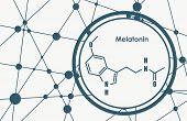 Melatonin Hormone Chemical Molecular Formula. In Humans, It Plays A Role In Circadian Rhythm Synchro poster