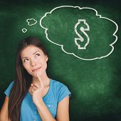 Thought bubble dollar sign drawing young Asian woman thinking of money saving budget how to make pro poster