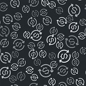 Grey Return Of Investment Icon Isolated Seamless Pattern On Black Background. Money Convert Icon. Re poster
