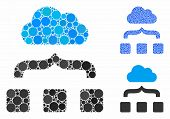 Combine Cloud Mosaic Of Small Circles In Different Sizes And Color Hues, Based On Combine Cloud Icon poster