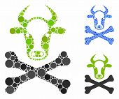 Cow Death Composition Of Spheric Dots In Different Sizes And Color Tones, Based On Cow Death Icon. V poster