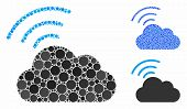 Wi-fi Cloud Mosaic Of Round Dots In Various Sizes And Shades, Based On Wi-fi Cloud Icon. Vector Roun poster