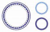 Round Rosette Seal Mosaic Of Small Circles In Variable Sizes And Shades, Based On Round Rosette Seal poster