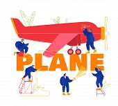 Plane Maintenance And Repair Concept. Group Of Mechanics Engineers Inspecting Private Airplane With  poster