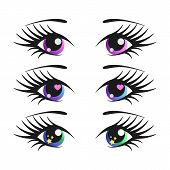 Set Of Cartoon Girl Eyes. Anime Vector Illustration. Cute And Sweet. poster