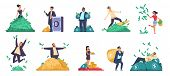 Rich People. Flat Happy Characters Throwing And Swimming In Money, Lying On A Bed Of Money. Vector I poster