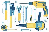 Collection Of Tools For Construction And Repair: Hammer, Angle Grinder, Pipe Wrench, Adjustable Wren poster