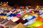 Colourful Talad Rod Fai Train Night Market In Bangkok, Thailand. New Flea Market Place In Bangkok. poster
