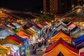 Colourful Talad Rod Fai Train Night Market In Bangkok, Thailand. New Flea Market Place At Bangkok. poster