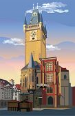 Colorful Vector Illustration Of Old Town Hall In Prague. Landmark Of Prague, Czech Republic. Vector  poster