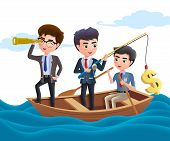 Business Character Boating Vector Concept. Business Team Characters Fishing, Boating, Telescoping An poster
