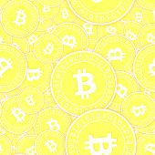 Bitcoin, Internet Currency Gold Coins Seamless Pattern. Sightly Scattered Yellow Btc Coins. Success  poster