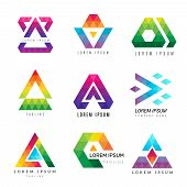Polygonal Triangle Logo. Business Colored Identity Abstract Symbols Polygons Ornamental Vector Graph poster