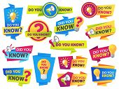 Do You Know. Label Sticker With Did You Know Speech Bubbles And Question Mark. Post Article With Typ poster