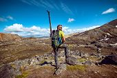 Man With Telemark Ski Ready For Skiing In Iceland Landmannalaugar Mountains, Sports Outdoor Concept poster