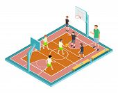 Basketball Training. Children Play Basketball Vector Illustration. Isometric Sport Court, Kids With  poster
