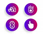 Loyalty Star, Loyalty Gift And Scroll Down Icons Simple Set. Halftone Dots Button. Hand Click Sign.  poster