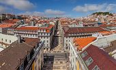 Aerial view of Rua Augusta Street in the Baixa District of Lisbon, Portugal. The most cosmopolitan s poster