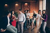 Photo Of Crowd Of Working People Engaged In Business Having Corporate Party With Fun And Alcohol Wea poster
