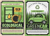 Electric Car And Eco Green Fuel Posters Of Ecology Clean Energy And Environment Friendly Vehicle Vec poster