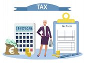 Objects And Objects Of Accounting, Tax Report. Flat Style. Cartoon Vector poster