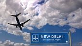 Airplane Silhouette Landing In New Delhi, India. City Arrival With Airport Direction Signboard And S poster