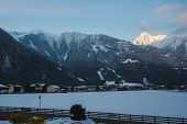 Evening Landscape, View Of The Austrian Town Mayrhofen In Tirol. Valley In The Alps With A Ski Resor poster