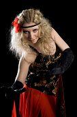 picture of bolero  - Young beautiful girl dancing spanish flamenco - JPG