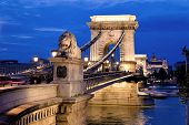 picture of hungarian  - the chain bridge is one of the landmarks of budapest in hungary - JPG