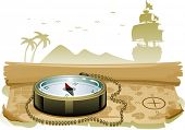 picture of galleon  - Illustration of a Compass Sitting on Top of a Treasure Map - JPG