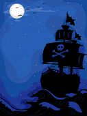 image of raider  - Illustration of a Pirate Ship sailing at Night - JPG