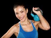 Постер, плакат: Фитнес крест подходит женщина держащая гиревого спорта Портрет подготовки Фитнес инструктор модель женщина пеноизола