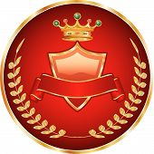 picture of queen crown  - vector red medallion with golden crest and crown - JPG