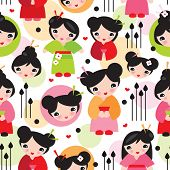 Seamless geisha girl illustration kids doll background pattern in vector