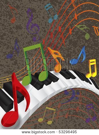 Piano Wavy Border With 3D Keys And Colorful Music Note Poster