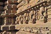 image of khajuraho  - Elephant Sculptures at Vishvanatha Temple  - JPG