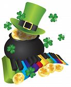 picture of rainbow piano  - St Patricks Day Leprechaun Hat with Rainbow Colors Piano Wavy Keyboard and Pot of Gold Coins Isolated on White Background Illustration - JPG