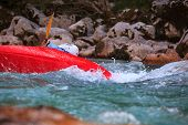 picture of waterspout  - Kayaking in the summer on the Soca river Slovenia - JPG