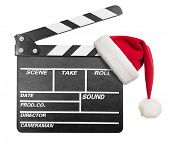 Clapper board with Santa's hat isolate