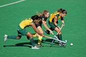 BLOEMFONTEIN, SOUTH AFRICA - FEBRUARY 7: I Davids (L), N Nelen(M), D Chamberlain (R) during a women'