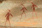 Bushmen (san) rock painting depicting human figures, Drakensberg mountains, South Africa