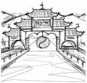 Vector Kung Fu Concept. Sketch background with china