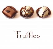pic of truffle  - Delicious chocolate truffles on a white background - JPG