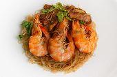 image of glass noodles  - Steamed Glass Noodles with Shrimp popular Thai food - JPG