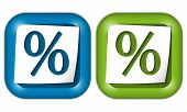 Set Of Two Icons With Paper And Percent Sign
