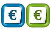 Set Of Two Icons With Paper And Euro Sign
