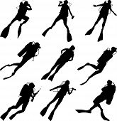 picture of spearfishing  - Set of vector silhouettes scuba diving in different poses - JPG