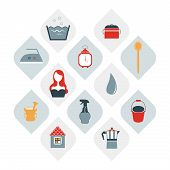 Set of flat house wife icon. Collection of house cleaning shapes. Vector.