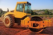 foto of dozer  - roller working on a road construction site - JPG